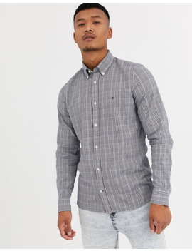 Tommy Hilfiger Slim Fit Prince Of Wales Print Shirt In Blue by Tommy Hilfiger