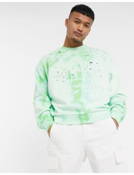 Asos Design Oversized Sweatshirt In Acid Wash With Distressing by Asos Design
