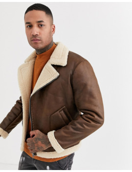 Only &Amp; Sons Faux Shearling Aviator Jacket In Tan by Only & Sons