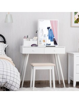 White Cavender Vanity Set With Mirror by Corrigan Studio