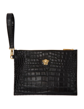 Black Small Croc Medusa Pouch by Versace