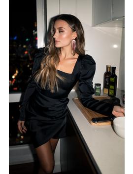 Square Neck Puff Sleeve Dress Black by Chloe B X Na Kd