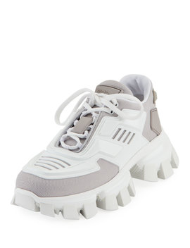 Exaggerated Tech Caged Lace Up Chunky Sneakers by Prada