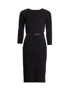 Liriche Stretch Wool Belted Sheath Dress by Max Mara