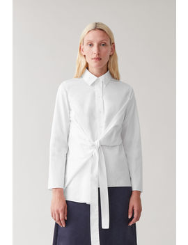 Draped Tied Cotton Shirt by Cos