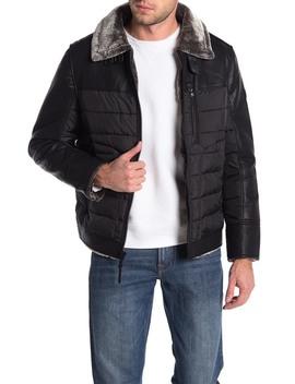 Moreau Faux Fur Collar Faux Leather Jacket by Michael Kors