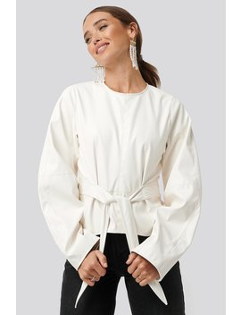 Pu Tied Waist Blouse White by Na Kd Trend