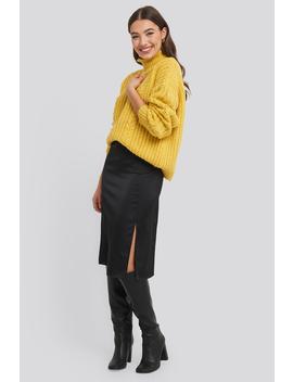 Front Slit Satin Skirt Black by Na Kd Trend