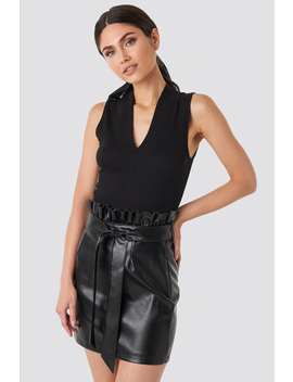 Paper Tied Waist Pu Skirt Black by Na Kd Party