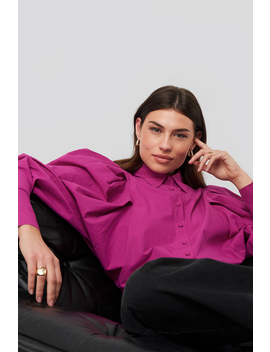 Oversized Puff Sleeve Shirt Pink by Na Kd Trend