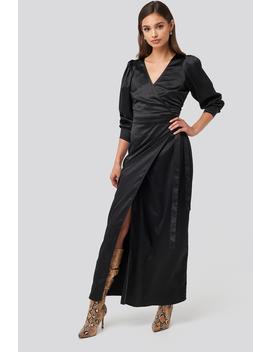 Puff Sleeve Wrap Maxi Dress Black by Na Kd Party