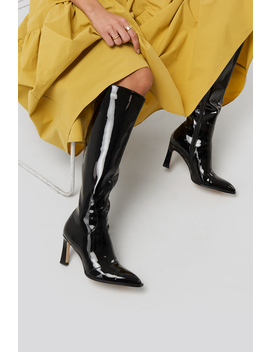 Glossy Patent Shaft Boots Black by Na Kd Shoes