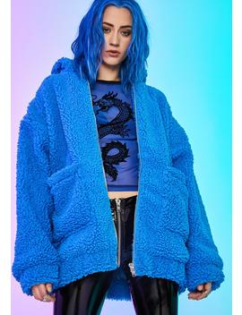 Azure Blissful Misery Teddy Hoodie by Current Mood