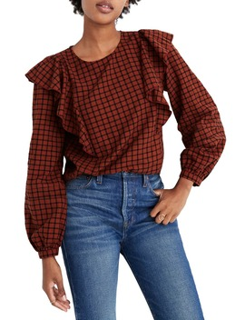 Plaid Ruffle Front Top by Madewell