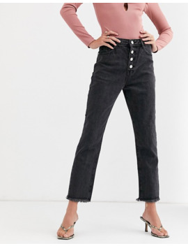 Missguided   Wrath   Jeans Dritti Con Bottoni A Vista Grigi by Missguided