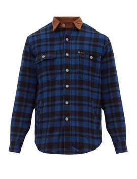 Corduroy Collar Checked Wool Blend Shirt by Polo Ralph Lauren