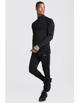 Man Active Skinny Fit Biker Tracksuit by Boohoo