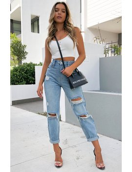 Love Stoned Boyfriend Jeans Retro Washed Blue by White Fox