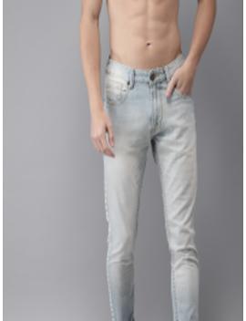 Men Blue Slim Fit Mid Rise Clean Look Jeans by Moda Rapido