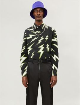 Lightning Print Relaxed Fit Cotton Shirt by Prada