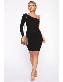 Side Hustle Sweater Mini Dress   Black by Fashion Nova
