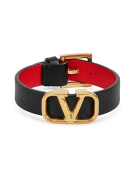 V Logo Black Leather Bracelet by Valentino Garavani