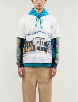 Graphic Print Slim Fit Cotton Shirt by Billionaire Boys Club