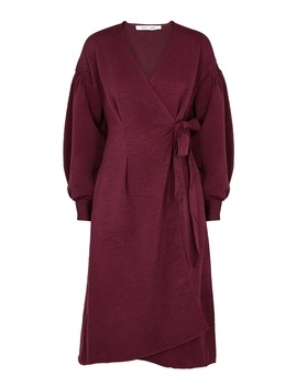 Merrill Burgundy Satin Wrap Dress by Samsøe & Samsøe