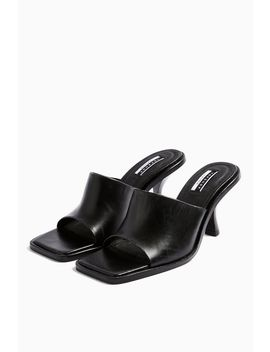 Rada Black Leather Square Toe Mules by Topshop