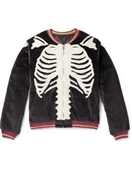 Embroidered Padded Cotton Velvet Bomber Jacket by Kapital