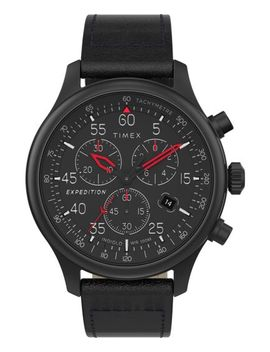 Expedition Field Chronograph 43mm Leather Strap Watch by Timex