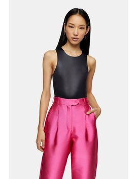**Black High Shine Bodysuit By Topshop Boutique by Topshop