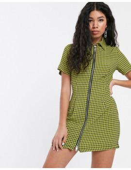 The Ragged Priest Zip Front Shirt Dress In Yellow Check by The Ragged Priest