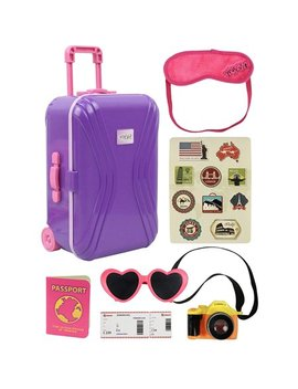 """Click N' Play 18"""" Doll Travel Carry On Suitcase Luggage 7 Piece Set With Travel Gear Accessories, Perfect For 18 Inch American Girl Dolls by Click N' Play"""