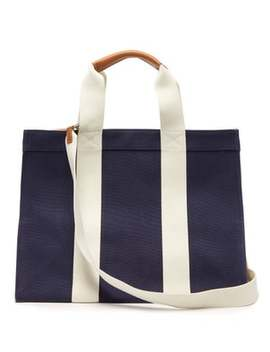 Tote Large Leather Trimmed Canvas Bag by Rue De Verneuil