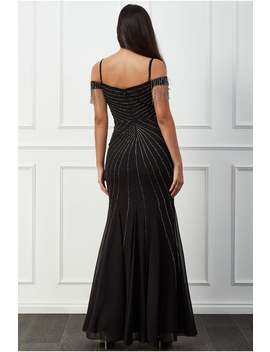 Goddiva  Beaded Fringe Bardot Maxi Dress   Black by Little Mistress