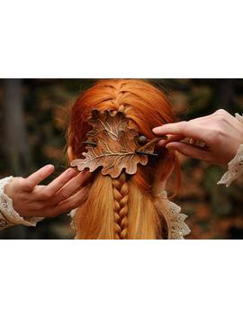 Leather Hair Clip Oak Leaf Leaves Barrette Carved Hairpin Ginger Head Elf Larp Costume Forest Elven Fascinator Acorn Headdress Bun Holder by Etsy