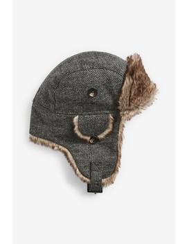 Grey Trapper Hat by Next