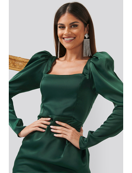 Square Neck Puff Sleeve Dress Green by Chloe B X Na Kd