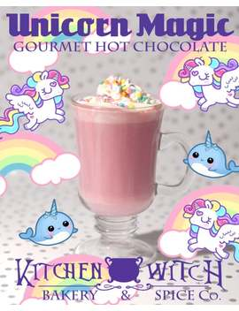 Unicorn Magic   Gourmet Hot Chocolate   Bio   Vegan   Berry   Coconut   Rainbow Sprinkles by Etsy