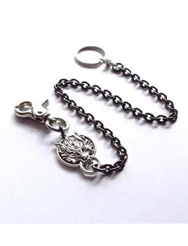 Wallet Key Pocket Watch Chain Nordic Viking Wolf Gothic Edwardian Victorian Steampunk Were Wolf Silver Fob Heavy Black Steel Chain Gift Him by Etsy