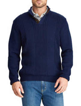 Men's Elbow Patch Mock Neck Sweater by Chaps