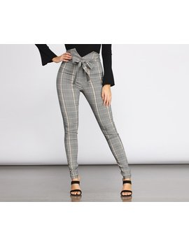 High Rise Tie Waist Plaid Skinny Pants by Windsor