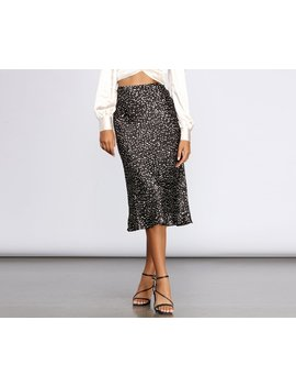 Spotted Satin Flared Midi Skirt by Windsor