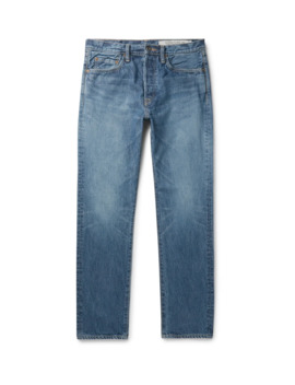 Slim Fit Embroidered Denim Jeans by Kapital