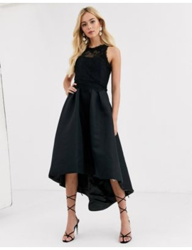 Chi Chi London High Low Satin Dress In Black by Chi Chi London