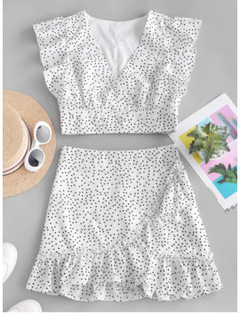 Hot Polka Dot Plunging Ruffle Skirt Set   White M by Zaful