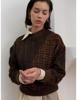 Twist Knit Top Brown by Kollab