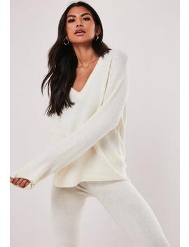 White V Neck Jumper And Trousers Co Ord Set by Missguided