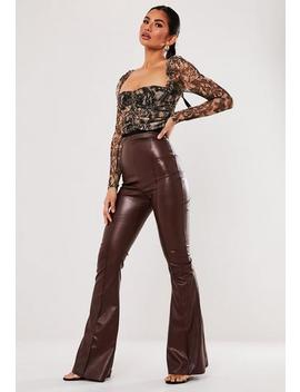 Wine Faux Leather Seam Detail Flare Trousers by Missguided